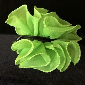 Chiffon lime green barrette